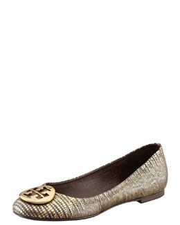 Tory Burch Reva Metallic Lizard-Stamped Flat