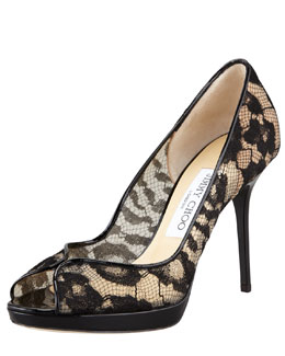 Jimmy Choo Belgio Lace Peep-Toe Pump
