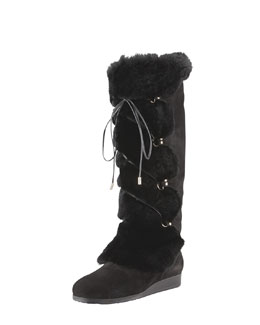 Jimmy Choo Danube Rabbit Front-Tie Boot