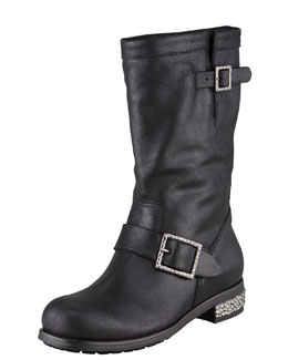 Jimmy Choo Crystal-Detailed Biker Boot