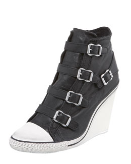 Ash High-Wedge Leather Sneaker