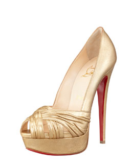 Christian Louboutin Aborina Metallic Twist-Front Platform Red Sole Pump