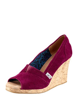 TOMS Shoes Corduroy Cork Wedge