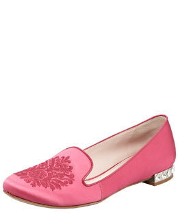 Miu Miu Satin Embroidered Loafer