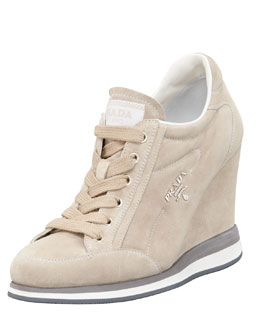 Prada Suede Lace-Up Wedge Sneaker