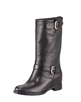 Prada Leather Double-Buckle Internal Wedge Boot