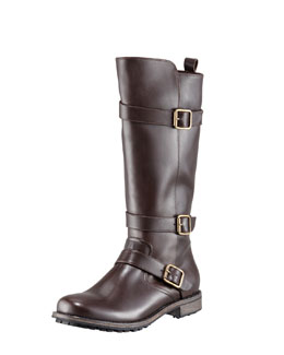 Manolo Blahnik Varobasso Triple Buckle Mid-Calf Boot