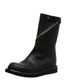 Rick Owens Asymmetric-Zip Motorcycle Boot