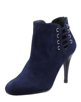 Stuart Weitzman Hotline Suede Lace-Up Ankle Boot, Blue