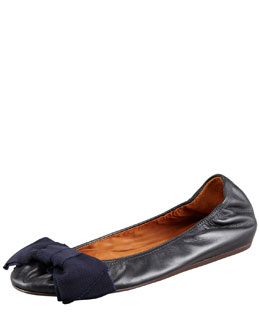 Lanvin Grosgrain-Bow Leather Ballerina Flat