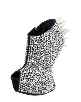 Giuseppe Zanotti Studded Crystal-Covered No-Heel Bootie