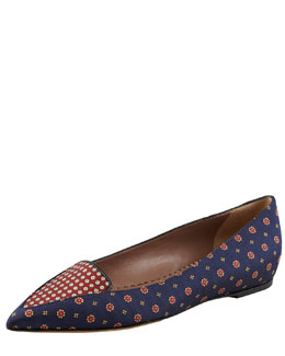 Tabitha Simmons Alexa Pointed-Toe Tie Silk Flat