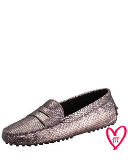 Tod's BG 111th Anniversary  Gommini Metallic Python Moccasin