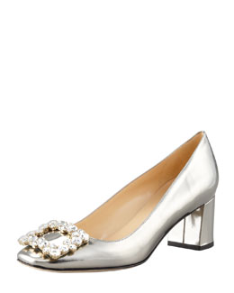 kate spade new york dandy specchio low-heel pump, pewter