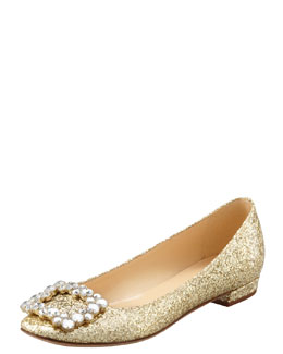 kate spade new york norella crystal-buckle glitter flat