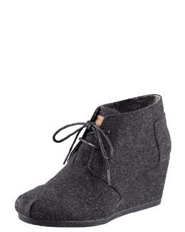 Toms Lace-Up Wedge Bootie