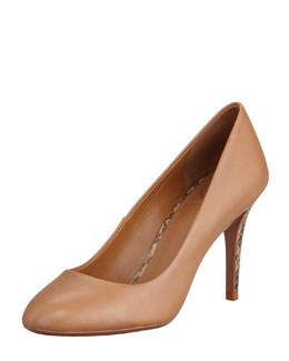 Tory Burch Mabel Watersnake-Heel Leather Pump, Royal Tan