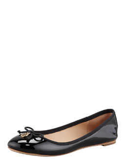 Tory Burch Chelsea Bow-Toe Patent Flat, Black