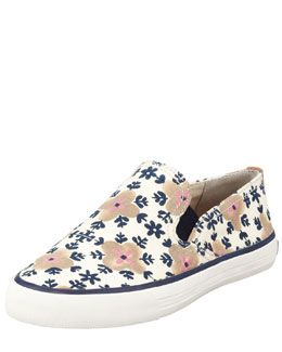 Tory Burch Miles Canvas Slip-On Sneaker, Floral Pattern