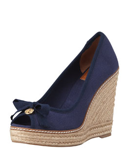 Tory Burch Jackie Peep-Toe Espadrille Wedge, Navy