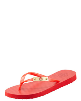 Tory Burch Elisha Logo-Plaque Flip-Flop, Flame Red