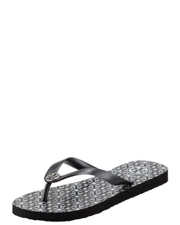 Tory Burch Rubber Logo Flip-Flop, Black/Pewter
