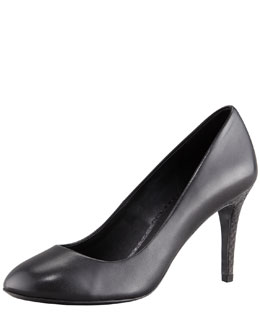 Tory Burch Mabel Watersnake-Heel Leather Pump, Black