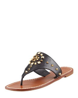 Tory Burch Dale Studded Thong Sandal, Black