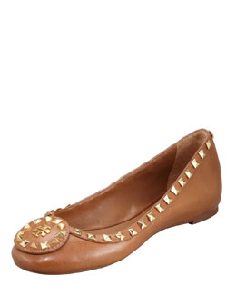Tory Burch Dale Studded Ballerina Flat, Royal Tan