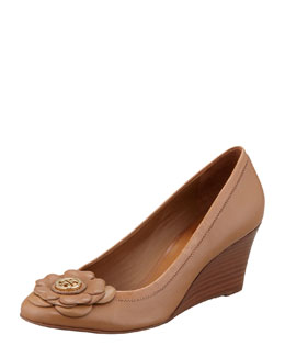 Tory Burch Shelby Floral Logo Wedge, Sand