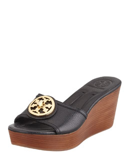 Tory Burch Selma Logo Wedge Slide, Black