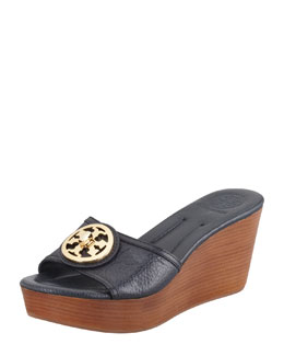 Tory Burch Selma Logo Wedge Slide, Tory Navy