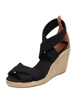 Tory Burch Adonis Stretch Espadrille Wedge, Black