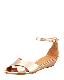 MARC by Marc Jacobs Metallic Napa Wedge Sandal, Rose Gold