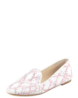 B Brian Atwood Studded Smoking Slipper, White/Silver