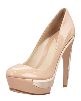B Brian Atwood Platform Metal-Detail Pump, Light Natural