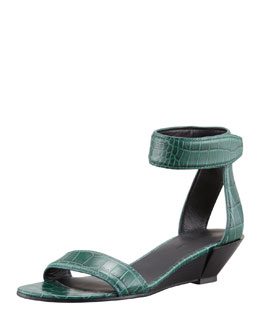 Alexander Wang Vika Crocodile-Print Low-Wedge Sandal