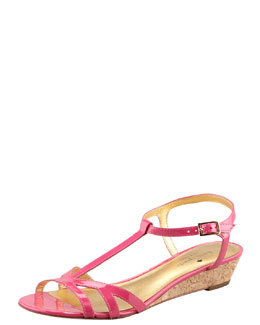 kate spade new york violet cork wedge sandal, pink