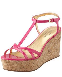 kate spade new york theodora cork wedge sandal, pink