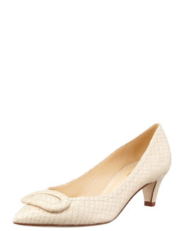 kate spade new york simon snake-print kitten-heel pump, beige