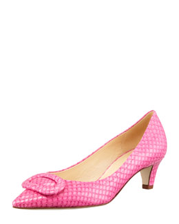 kate spade new york simon snake-print kitten-heel pump, pink