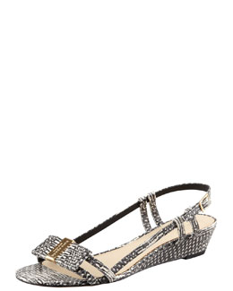 kate spade new york vita snake-print low-wedge sandal