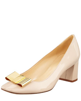 kate spade new york dijon metal-bow pump, doe taupe