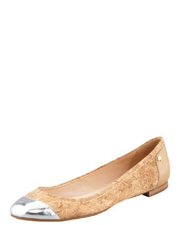 kate spade new york terry cork cap-toe ballerina flat, natural/silver
