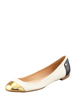 kate spade new york terry leather cap-toe ballerina flat