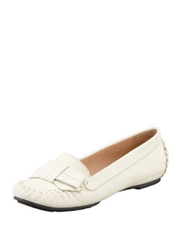 kate spade new york willie tumbled leather loafer, cream