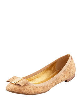 kate spade new york tock elastic-trim ballerina flat, natural cork
