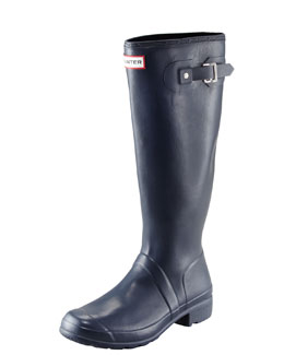 Hunter Boot Original Tour Buckled Welly Boot, Navy