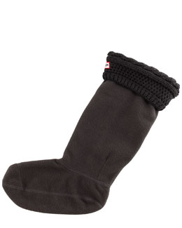 Hunter Boot Moss Cable-Cuff Fleece Welly Socks, Graphite