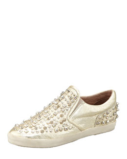 Ash Distressed Studded Slip-On Sneaker
